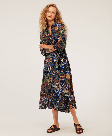 Shirt dress with boat print