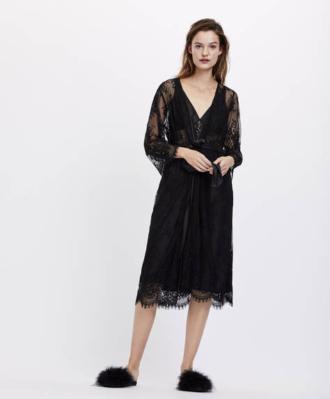Essential Lace long bath robe