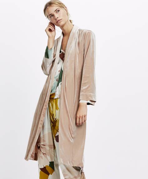 Velvet fringe dressing gown