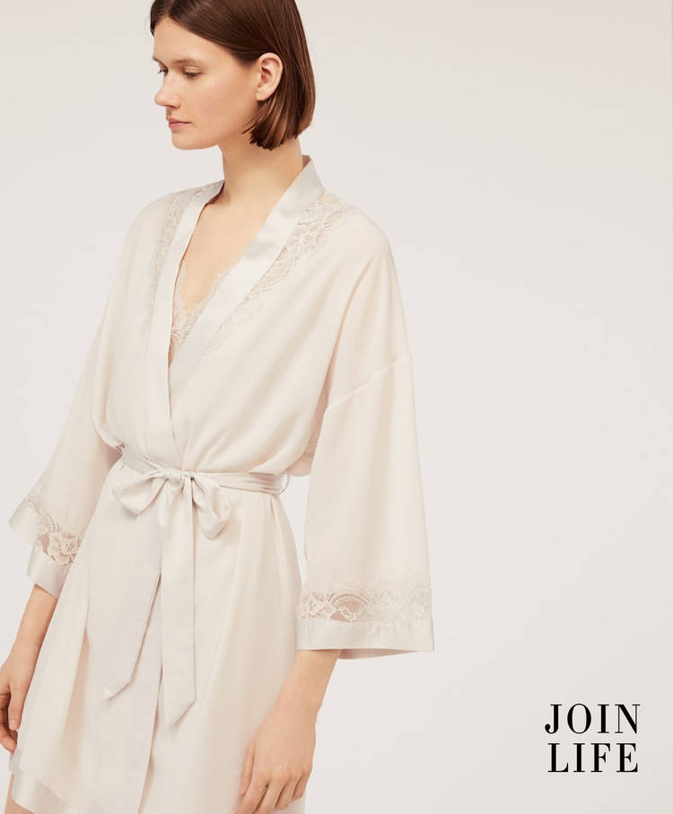 Essential lace dressing gown - Lingerie dressing gowns - Lingerie ... bc21324f5e1f