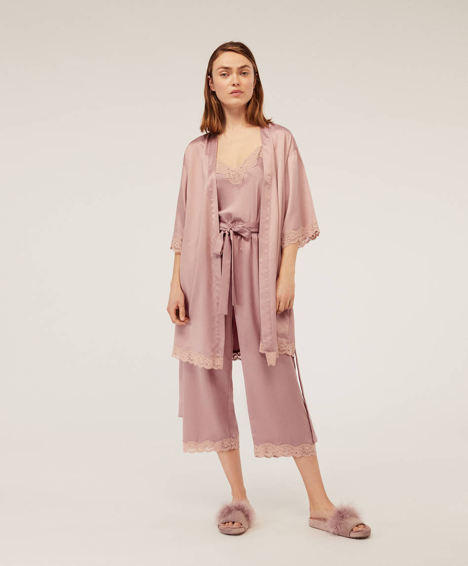 1d8b704d3be Satin dressing gown with micro lace trims