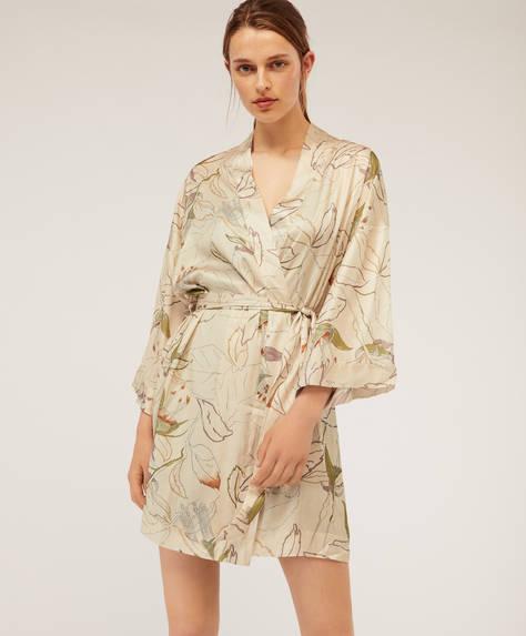 Floral kimono bath robe