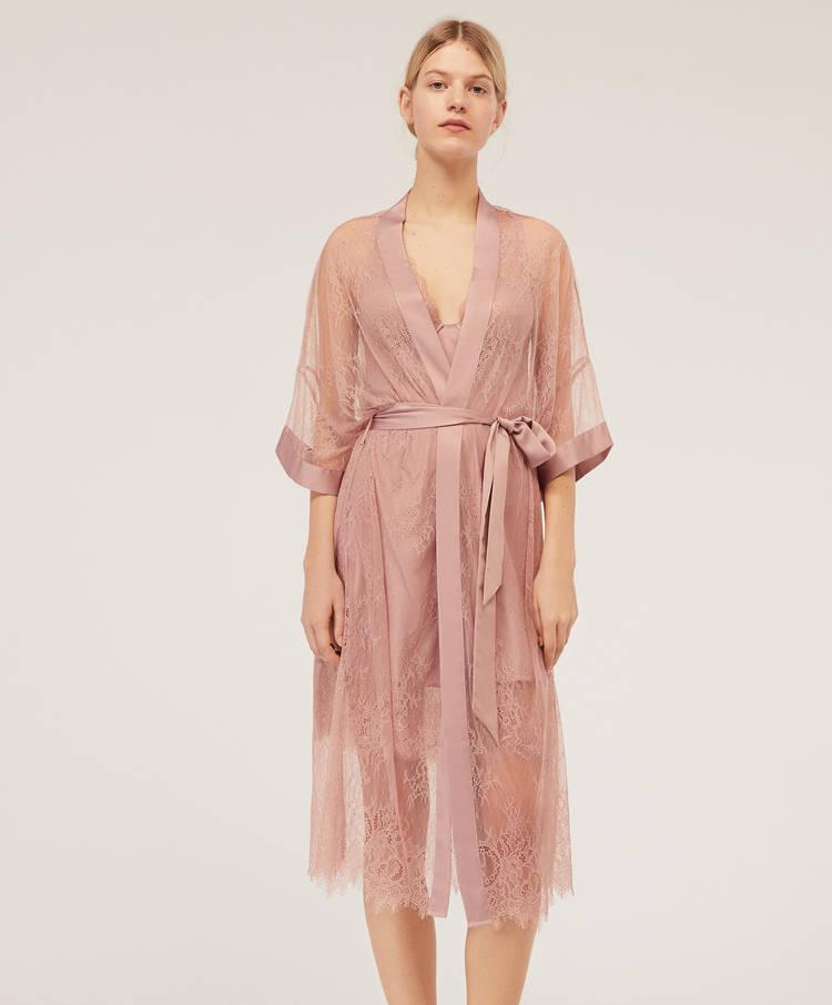 df4e32349f Lace kimono dressing gown - Lingerie dressing gowns - Lingerie ...
