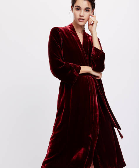 Premium silk and velvet bath robe