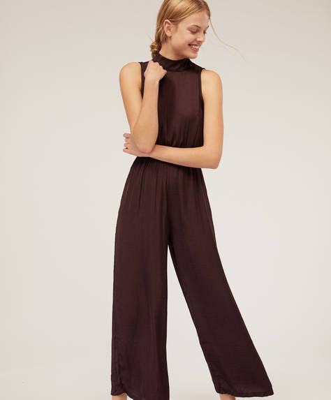 Satin finish halterneck jumpsuit