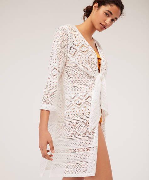 Knot front crochet tunic