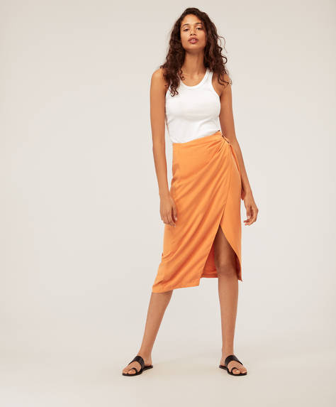 Tencel® midi wrap skirt