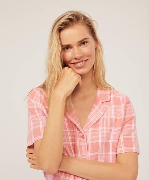 Kareli pembe gömlek