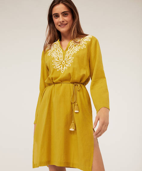 Embroidered midi tunic with belt