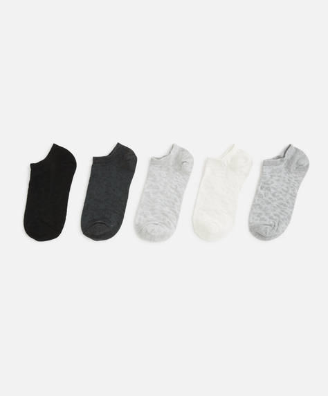 5 Paar Sneakersocken mit Leopardenprint