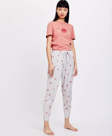 Pantalon motif de petits cochons