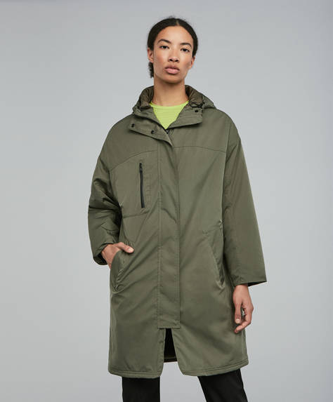 Khaki water-repellent parka