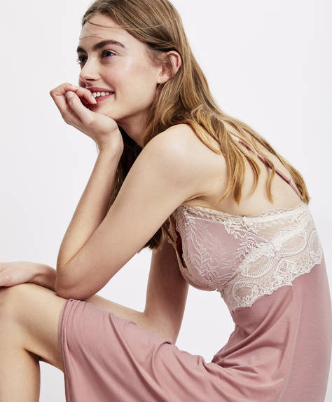 Modal nightdress with micro lace