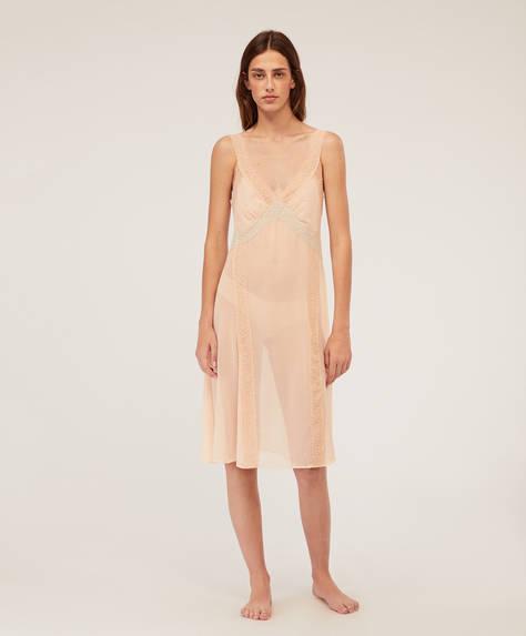 Camisa de noite estilo lingerie em chiffon
