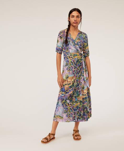 Платье с пейзажным принтом