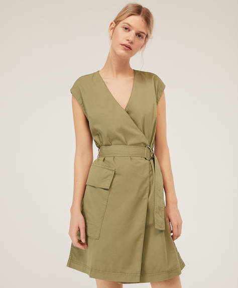 Cotton wrap dress with buckle