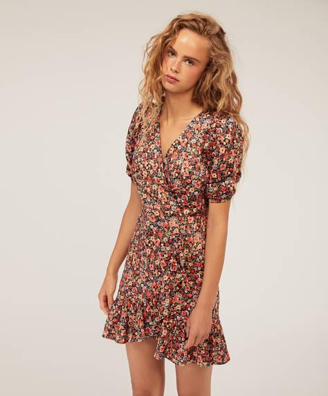Kurzes Kleid mit Volants und verspieltem Blumenprint