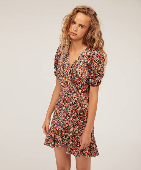 Short ruffled ditsy floral dress