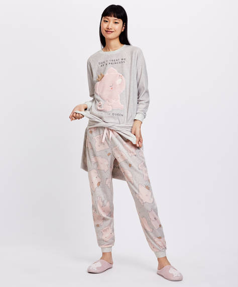 Microfleece piggy print trousers