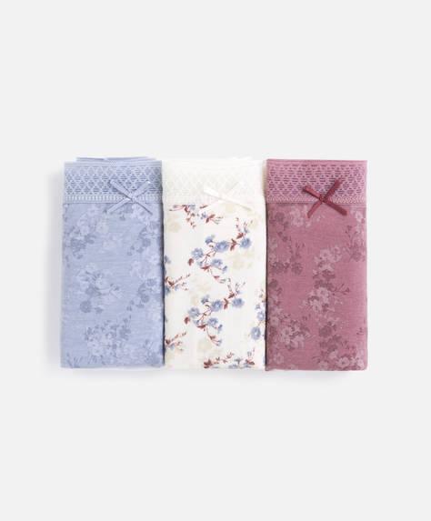 3 Braguitas clásicas algodón flores