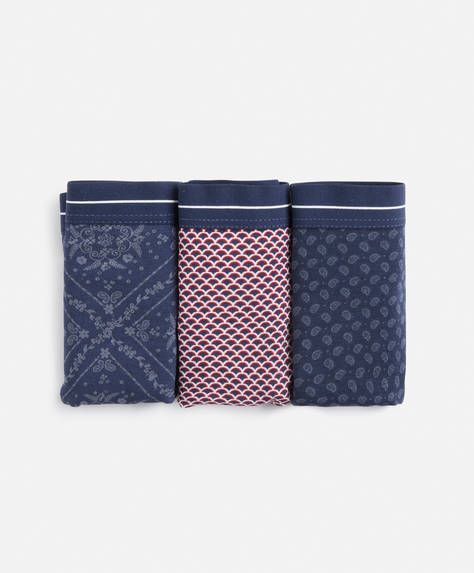 Set de 3 chiloți tanga model bandana albastru