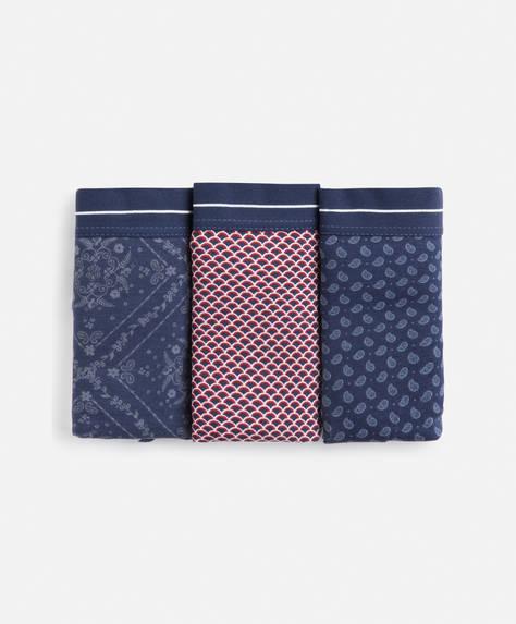 3 klassische blaue Slips mit Print