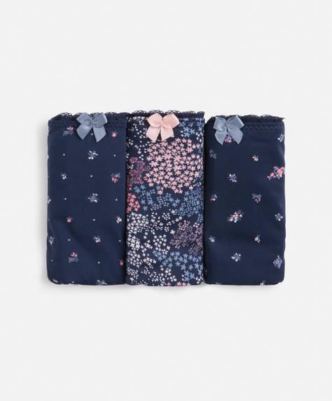 3 micro floral Brazilian briefs