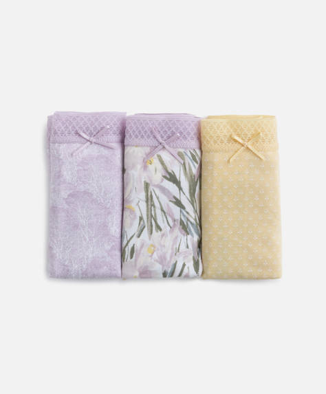 Набор из 3 классических трусов с цветочным принтом