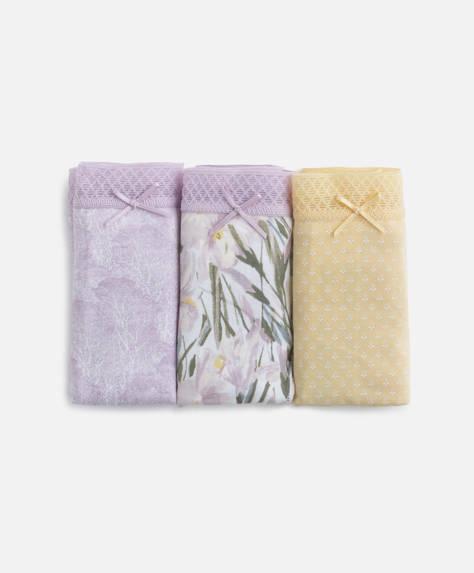 3 klassische Slips mit Blumenprint