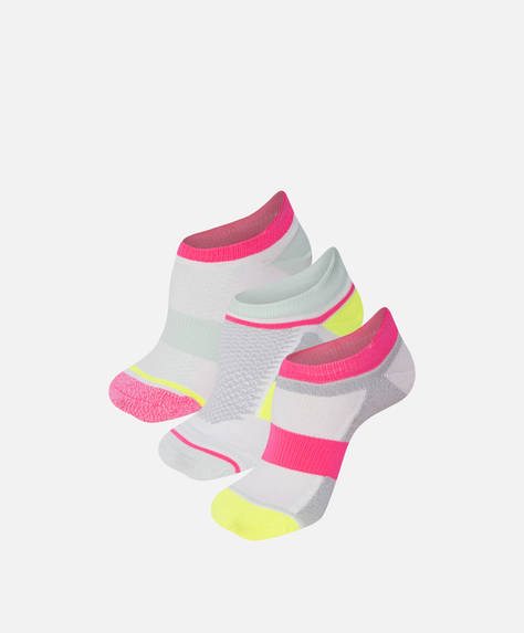 3 Paar Sneakersocken in Neonfarben