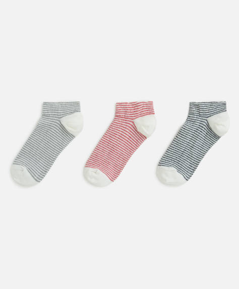 3 pairs of stripe ankle socks