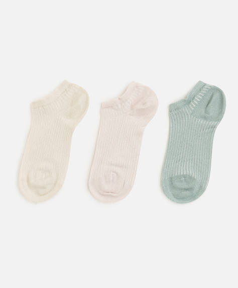 3 pairs of metallic thread ankle socks