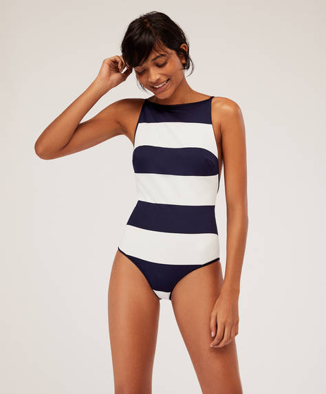 Bold stripe bathing suit