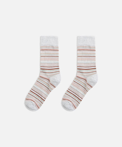 Chaussettes rayures multiples roses