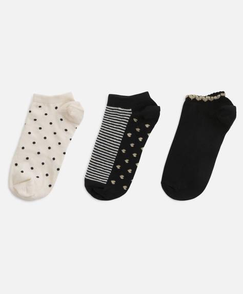 3 calcetines tobilleros corazones