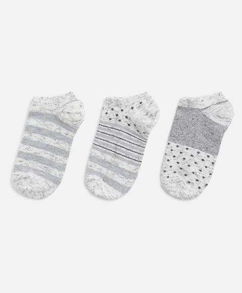 3 pairs of print ankle socks