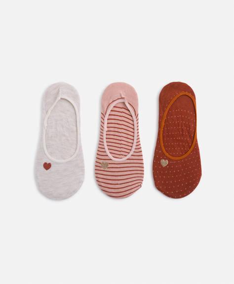 3 calcetines footies corazón