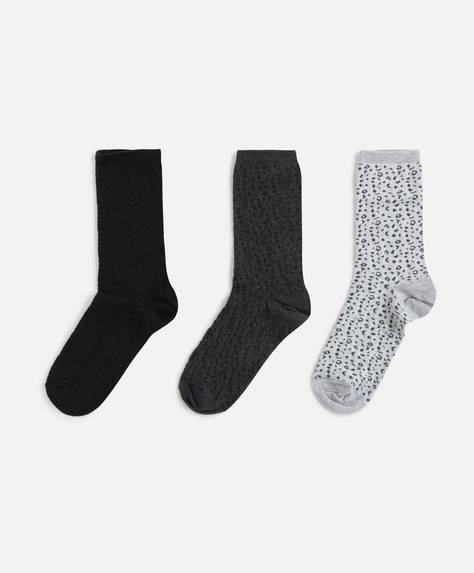 3 pairs of animal print socks