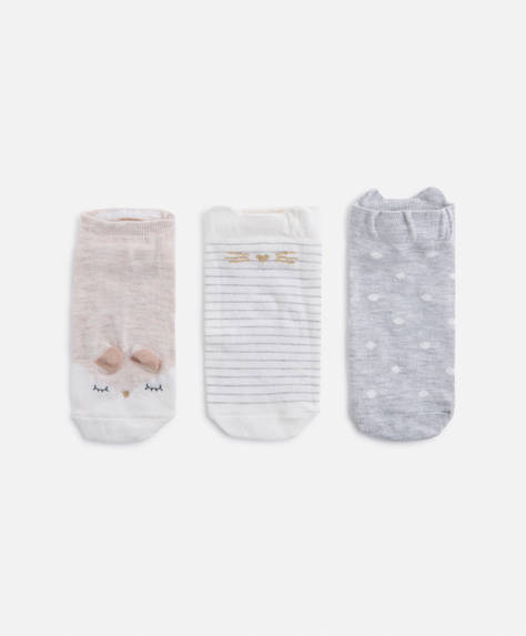 3 pairs of cute ear ankle socks