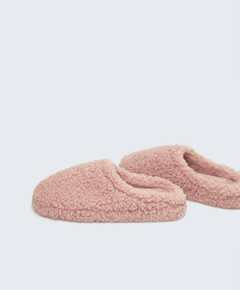 Platform faux-shearling slippers