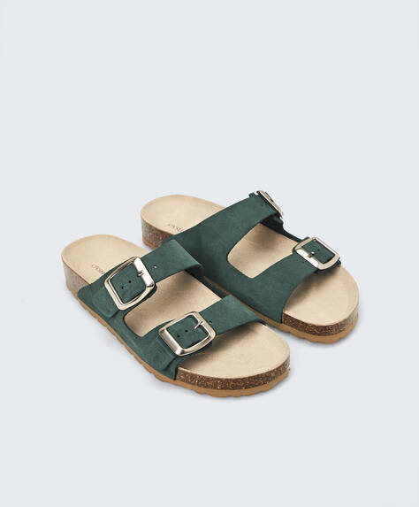 Buckle split-leather sandals
