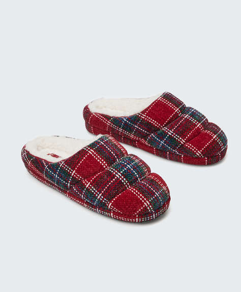 Cushioned checked slippers