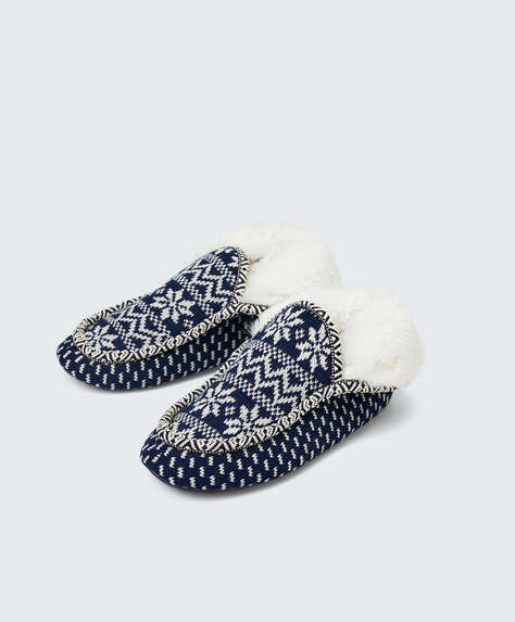 Ethnic motif slipper boots