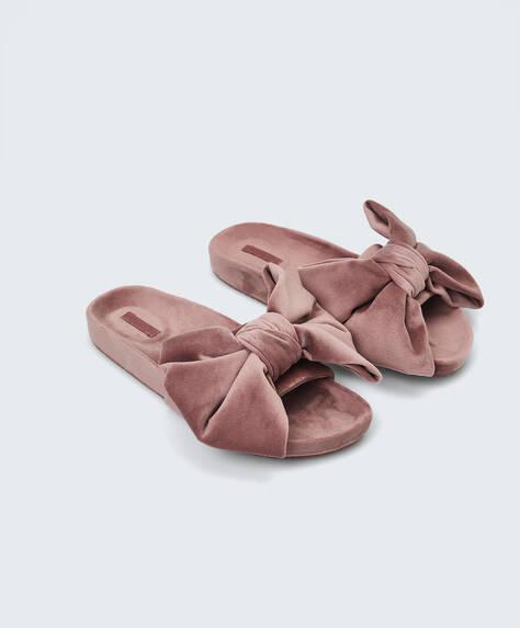 Sandales avec gros nœud en velours