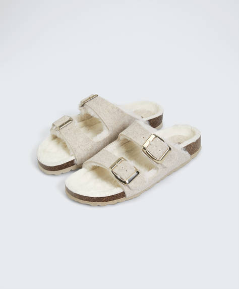 Double buckle furry slides