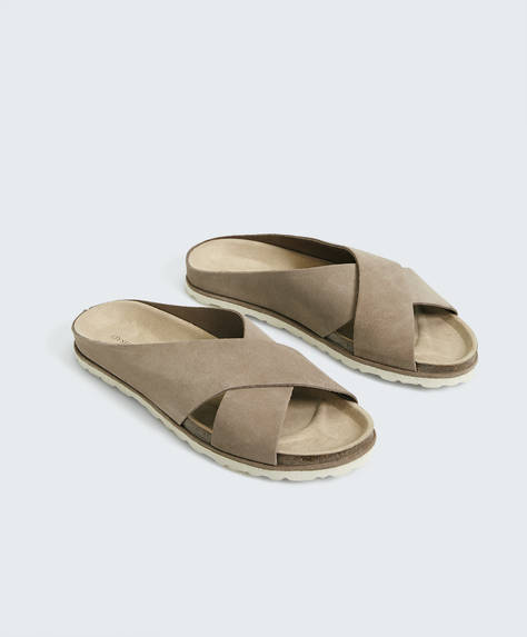 Split-leather crossover sandals