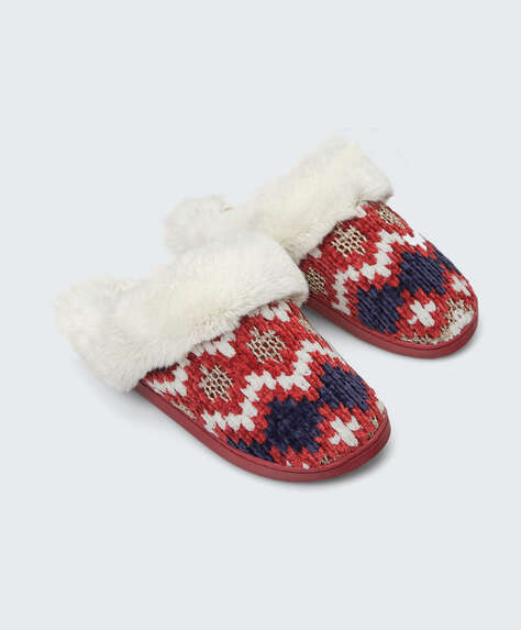 Stripe pattern chenille slippers