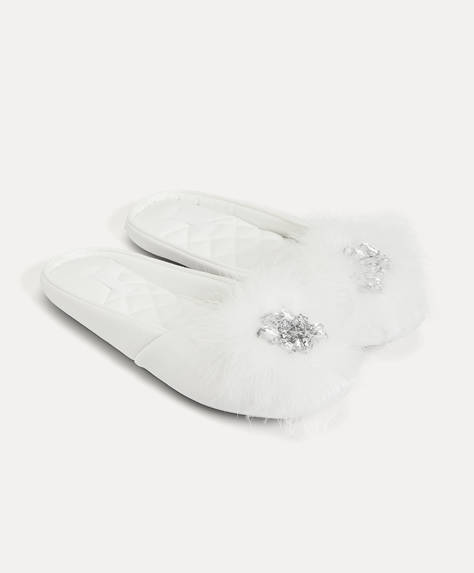 Jewelled pompom slippers