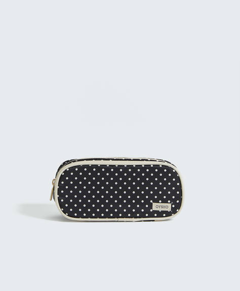 Polka dot double-zip wash case