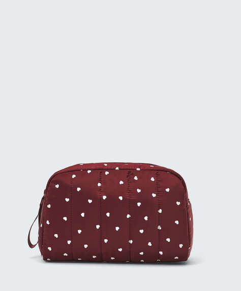 Padded heart wash bag